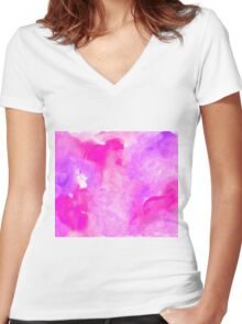 Bright pink watercolor Women's Fitted V-Neck T-Shirt