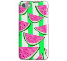Watermelon Crush on green stripes iPhone Case/Skin