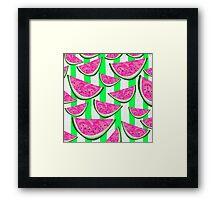 Watermelon Crush on green stripes Framed Print