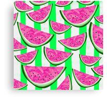 Watermelon Crush on green stripes Canvas Print
