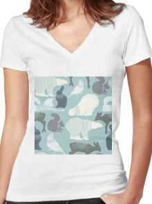Winter forest animals large print Women's Fitted V-Neck T-Shirt