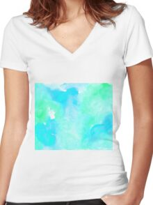 Aquamarine watercolor Women's Fitted V-Neck T-Shirt