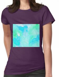 Aquamarine watercolor Womens Fitted T-Shirt