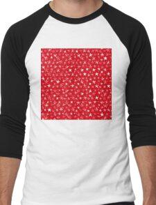 Messy White stars on bold red background Men's Baseball ¾ T-Shirt