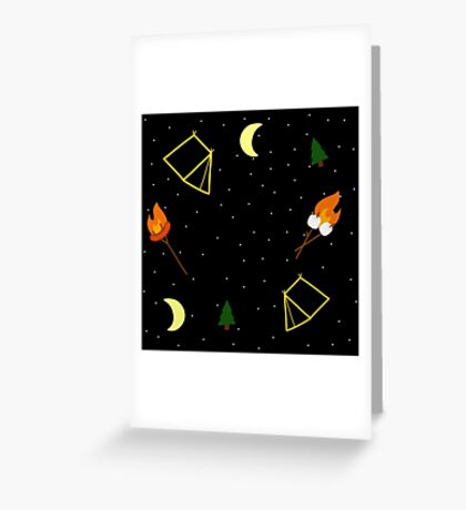 Campfire : Camping Outdoors Marshmallow Tent Design Greeting Card