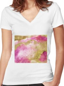Gold foil infused pink watercolor Women's Fitted V-Neck T-Shirt