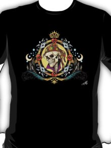 Pirate King Skull with hearts and a crown by Al Rio T-Shirt