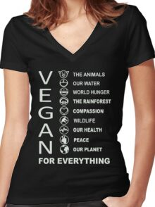 Vegan - Vegan For Everything Women's Fitted V-Neck T-Shirt