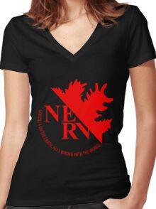 NERV Anti-Godzilla Division Women's Fitted V-Neck T-Shirt