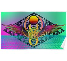 Winged Technicolor Scarab Sierpinski Reflection Poster