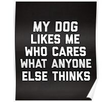 My Dog Likes Me Funny Quote Poster