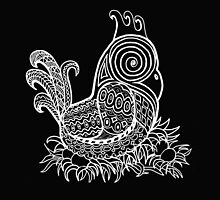White Zentangle Chicken by BarbaraCleland