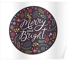 Merry and bright bauble Poster