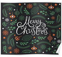 Merry Christmas greenery Poster
