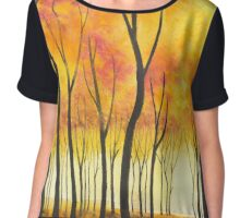 Autumn Forest III ~ Watercolor Painting Chiffon Top