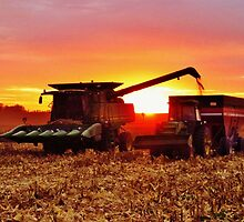 Sunset and Harvest  by lorilee