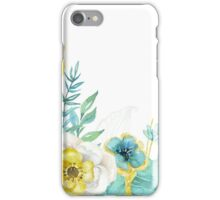 Mint gold flowers iPhone Case/Skin