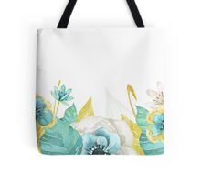 Mint gold flowers Tote Bag
