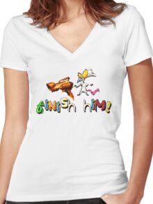 Earthworm Jim - Finish Him! Women's Fitted V-Neck T-Shirt