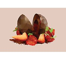 Chocolate Mousse Dessert with Raspberry Centre polygon art Photographic Print