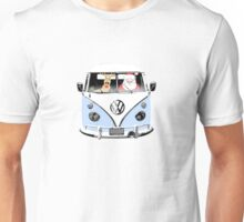 VW Camper Santa Father Christmas Pale Blue Unisex T-Shirt