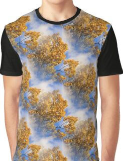 Blue Sky Golden Leaves Nature Pattern Graphic T-Shirt