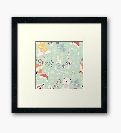 Christmas animal pattern, 002 Framed Print