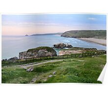 Evening Light At Perranporth Cornwall Poster