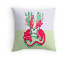 Cat Skull Garden Throw Pillow