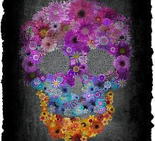 Sugar Skull Made Of Flowers by Annika Thurgood