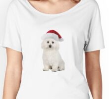 Bichon Frise Santa Claus Merry Christmas Women's Relaxed Fit T-Shirt