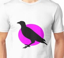 Black Crow on a pink sun Unisex T-Shirt