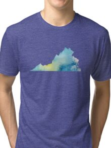 Virginia Blue and Green Watercolor Tri-blend T-Shirt
