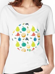 Colorful Fruit Illustration Women's Relaxed Fit T-Shirt