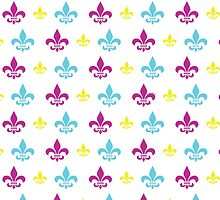 Fleur de Lis Pattern (Pink, Yellow and Turquoise) by StudioBlack