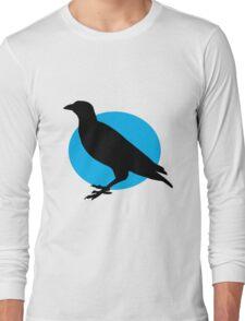 Black crow on a setting blue sun Long Sleeve T-Shirt