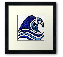 Colorful Blue Wave Illustration Framed Print
