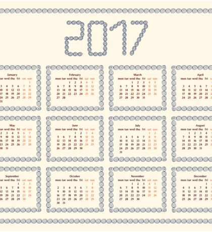 2017 year calendar template.Colorful decorative design. Sticker