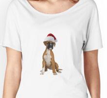 Boxer Puppy Santa Claus Merry Christmas Women's Relaxed Fit T-Shirt
