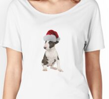 Bull Terrier Puppy Santa Claus Merry Christmas Women's Relaxed Fit T-Shirt