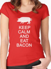 Keep Calm And Eat Bacon Women's Fitted Scoop T-Shirt