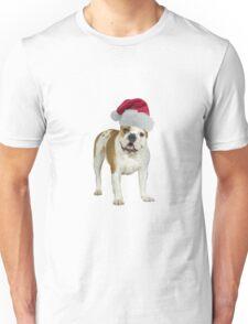 Bulldog Puppy Santa Claus Merry Christmas Unisex T-Shirt
