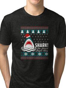 SHARK! THE ANGEL SING T-Shirt merry funny christmas Tri-blend T-Shirt
