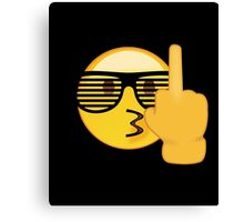 Emoji Shirt :) Sunglasses Middle Finger - New Emojis App Canvas Print