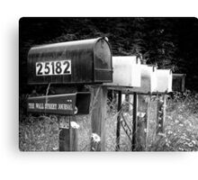 Black and white raw of old road country us mailboxes Canvas Print