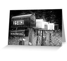Black and white raw of old road country us mailboxes Greeting Card