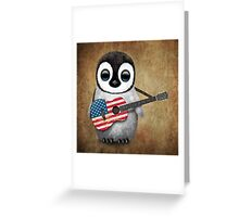 Baby Penguin Playing American Flag Guitar Greeting Card
