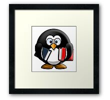 Penguin, Bookworm, Teacher, Scholar, Cartoon Framed Print