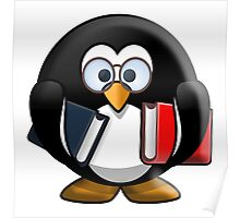 Penguin, Bookworm, Teacher, Scholar, Cartoon Poster