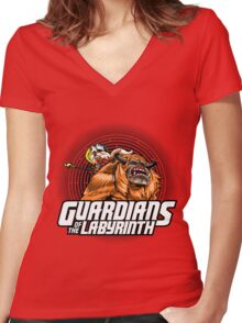 Guardians of the Labyrinth Women's Fitted V-Neck T-Shirt